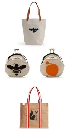 BeGood Clothes Bee tote, $50, Coin Purses, $23, and Fox tote, $26