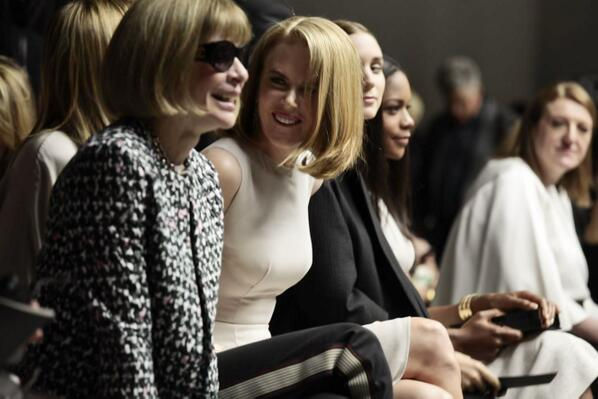 Anna Wintour and Nicole Kidman front row at Calvin Klein courtesy of Twitter