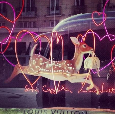 Le Bon Marche Window Display Showcasing the NEW Louis Vuitton SC Bag by Sofia Coppola