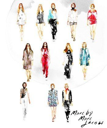 Fashion Week Illustrated: Artist Samantha Hahn's Painted Take On the NYFW Runways - Marc by Marc Jacobs courtesy of Pinterest