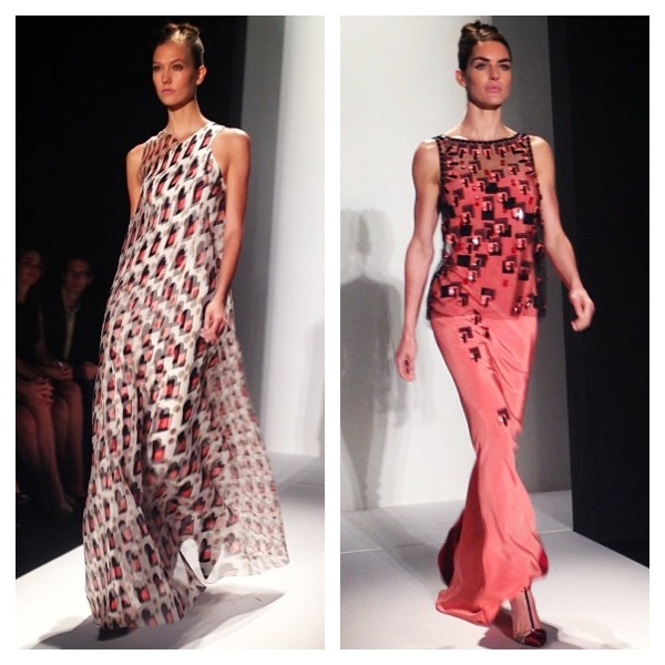 Karlie Kloss and Hilary Rhoda walk in Carolina Herrera's Spring 2014 show. Images courtesy of Instagram.