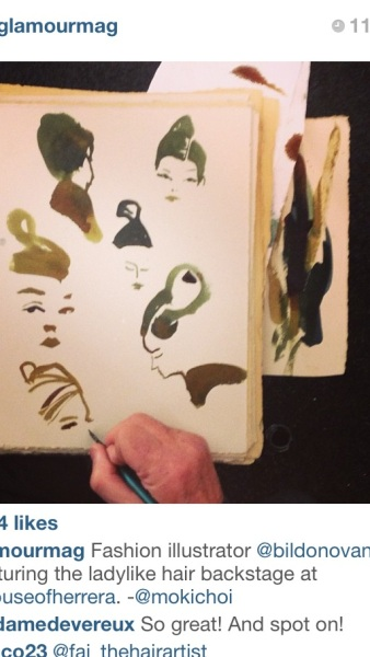 William Donovan sketches backstage at Carolina Hererra courtesy of Glamour Magazine's Instagram