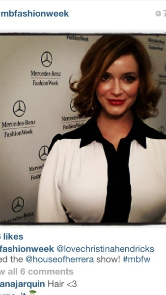 SPOTTED: The lovely and talented Christina Hendricks at the Carolina Herrera Spring 2014 show courtesy of Mercedes-Benz Fashion Week Instagram