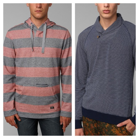 Urban Outfitters Stripe Pullover, $27.99, and Solid Pullover, $24.99
