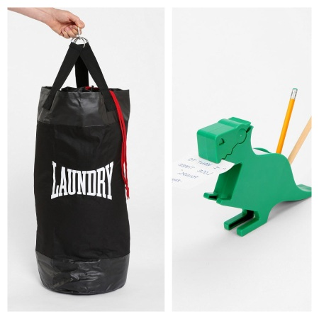 Urban Outfitters Punch Laundry Bag, $6.99, and T-Rex Memo Holder, $4.89