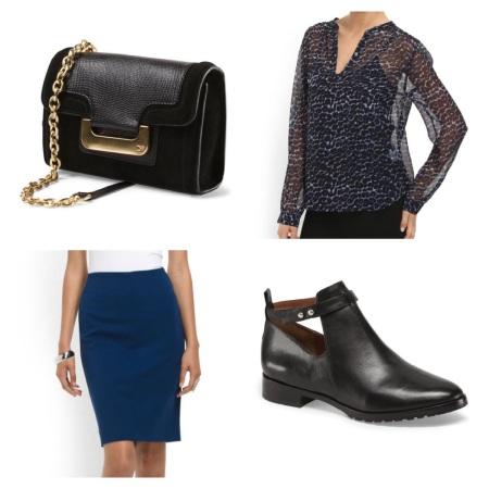 T.J.MAXX: DVF Handbag, $119.99, Joie Blouse, $89.99, DVF Pencil Skirt, $99.99, Elizabeth & James Bootie, $179.99