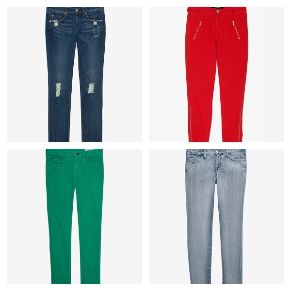 Rag & Bone Distressed Vintage Skinny, $89, J Brand Red Capri, $49, Rag & Bone Green Skinny, $39, and J Brand Bleached Out Skinny, $69.