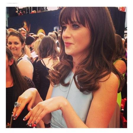 Zooey Deschanel Emmy 2013 Red Carpet courtesy of Instagram