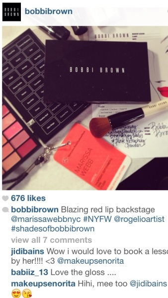 Bobbi Brown's makeup palette for the Marissa Webb show