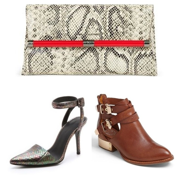 Diane Von Furstenberg Envelope Embossed Python Clutch, $225, Alexander Wang Lovisa Ankle Strap Pumps, $645, and Jeffrey Campbell Everly Bootie, $200