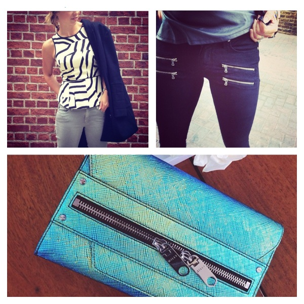 Tibi Zebra Maze Sleeveless Top, $325, Paige Edgemont Skinny, $239, and Milly Avril Clutch, $450