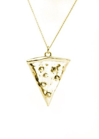 Pizza Pendant Necklace in Brass by ThirdMeaning on Etsy courtesy of Pinterest