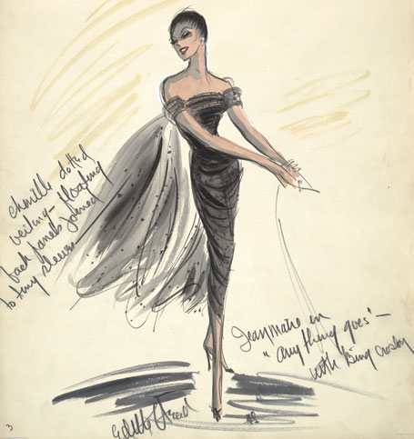 "This sketch, signed by Head, is for a costume to be worn by Jeanmaire in Anything Goes (1956). Courtesy of ""Edith & Oscar: A Costume Exhibit"" at the Wisconsin Center for Film and Theater Research"