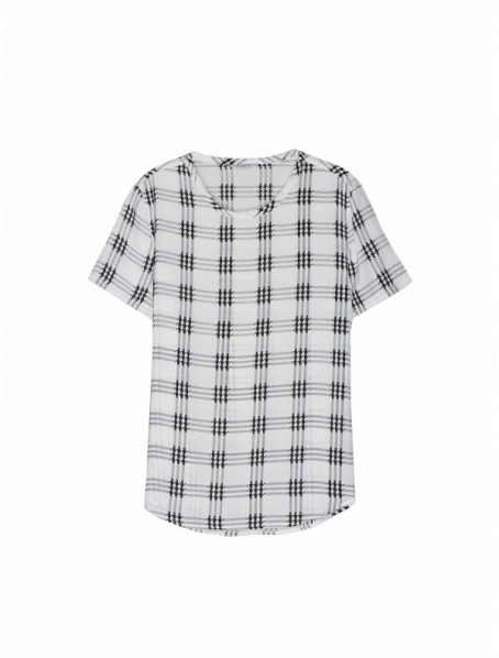 Nature White Houndstooth Check Riley Tee, $134.40