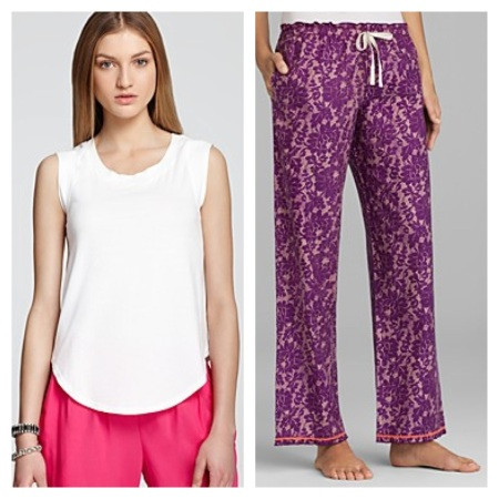 Alternative Sleeveless Tee, $22.40, and Kensie Flannel Pants, $35.20.