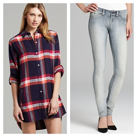 DKNY Flannel Boyfriend Sleepshirt, $46.40, and HUE Authentic Jean Leggings, $43.20.