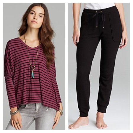 Free People Tee, $46.40, and DKNY Thermal Pants, $53.60.