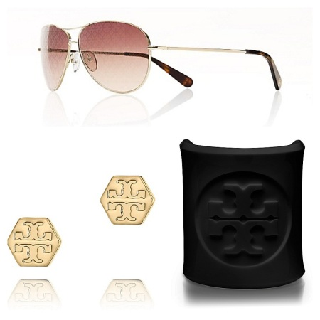 Gold Aviator Sunglasses, $108.75, Hexagon Logo Stud, $43.50, and Lucite Cuff, $37.50