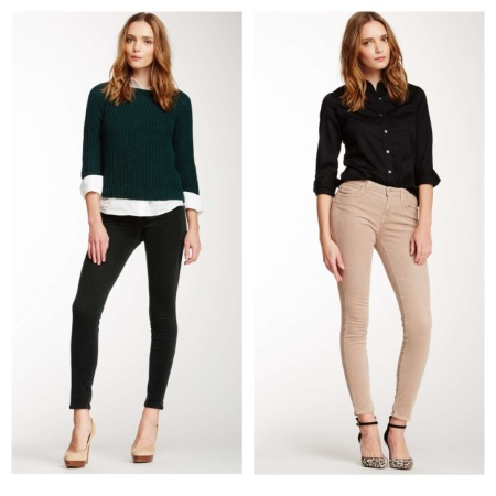 J Brand Mid-Rise Cord Pant, $79, and J Brand Mid-Rise Super Skinny Jean, $89.