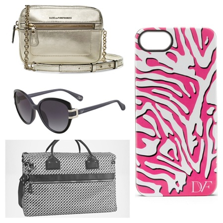 Micro Milo Metallic Leather Crossbody, $122.50, Gwen Sunglasses, $95.20, On the Go Duffle, $56, and Zebra iPhone 5 Case, $28.