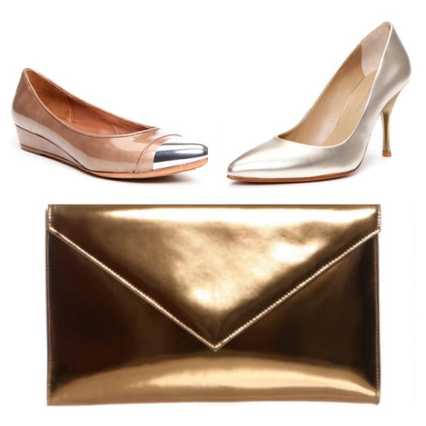 Noelle Wedge, $69, Brave Pump, $99, and Ramona Clutch, $139.