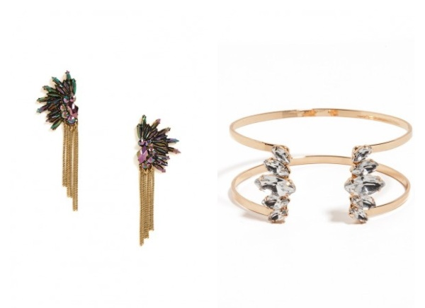 Mohawk Fringe Earrings and Crystal Cage Cuff.