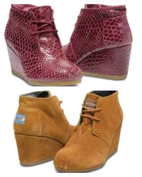 Oxblood Serpentine Wedges, $165, and Chestnut Suede Wedge, $89.