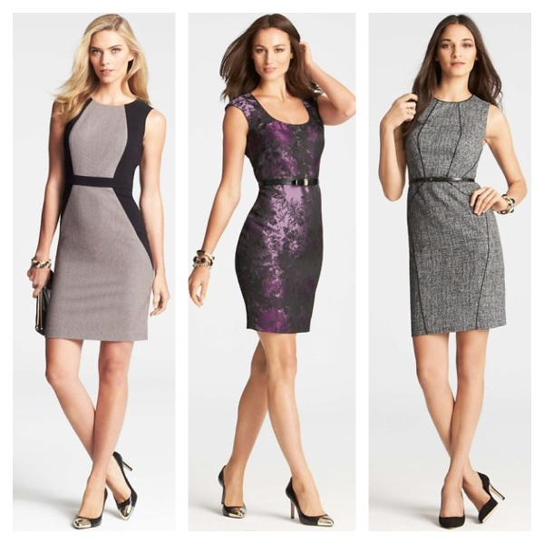 Colorblocked Dress, $77.40, Floral Jacquard Dress, $95.40, and Piped Tweed Dress, $101.40.