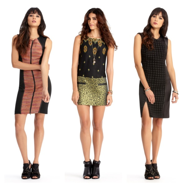 Zip Front Dress, $90.30, Jewel Combo Dress, $76.30, and Zip Seam Dress, $90.30