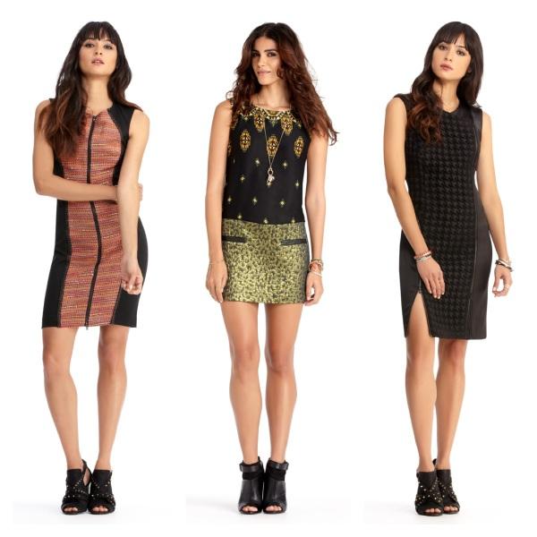 Zip Front Dress, $90.30, Jewel Combo Dress, $76.30, and Zip Seam Dress, $90.30