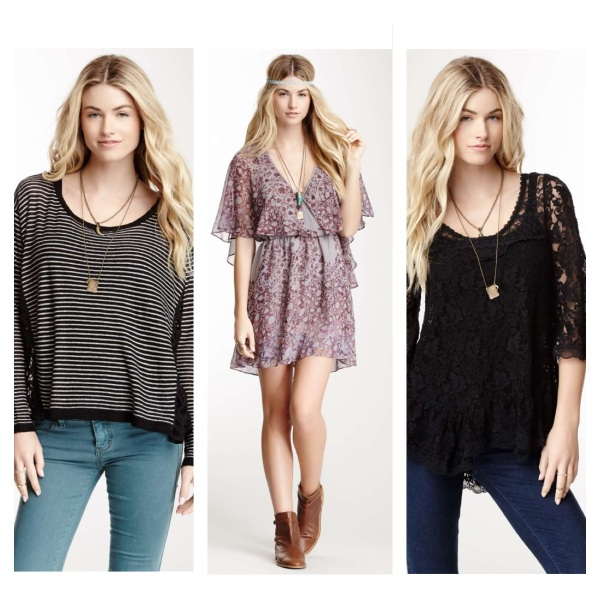 Striped Pullover, $49, Cape Dress, $79, and Scalloped Lace Top, $49.