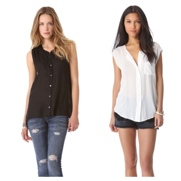 Joie Brant Blouse, $58.80, and James Perse Soft Shell Shirt, $66.00