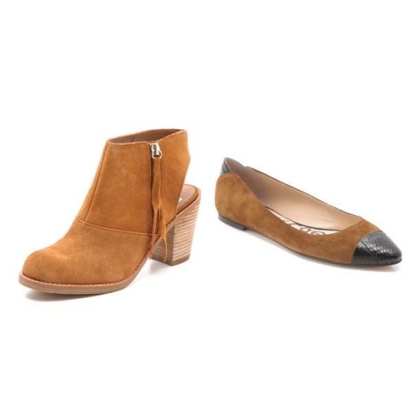 Dolce Vita Jentry Cutout Booties, $64.50, and Sam Edelman Trent Ballet Flats, $88.00
