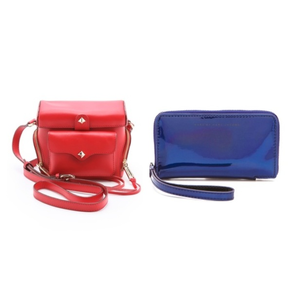 Rebecca Minkoff Craig Camera Bag, $97.50, and Marc by Marc Jacobs Techno Wingman Wristlet, $82.60