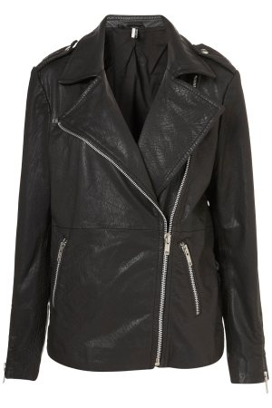Oversized Leather Biker Jacket, $140