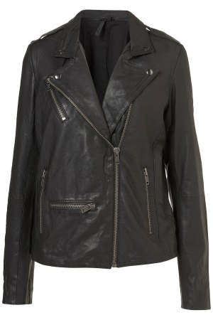 Longline Leather Biker Jacket, $126