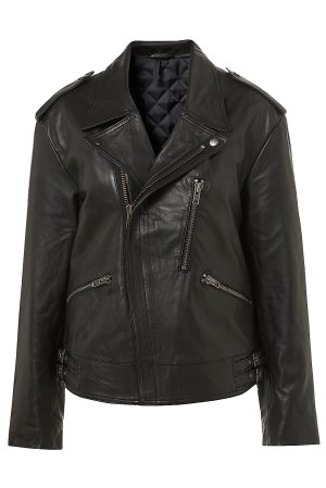 Black Leather Biker Jacket, $168