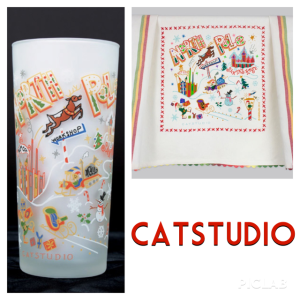 Catstudio North Pole Glass, $, and North Pole Dish Towel, $