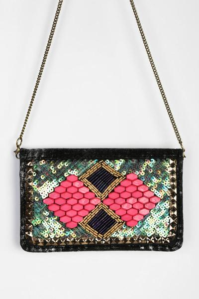 Ecote Bead-Embellished Chain-Strap Wallet, $29