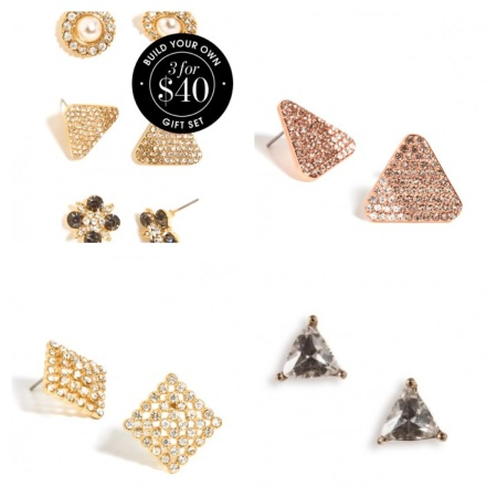 Tonal Triad Stud in Rose Gold, Crystal Dice Stud in Gold, and Tiny Trillion Stud