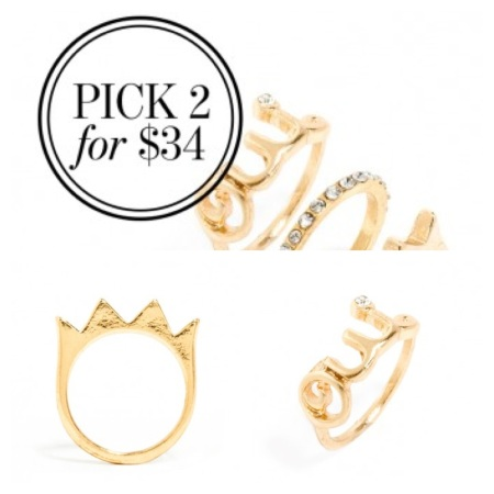 Crown and Oui Midi Rings, both in Gold