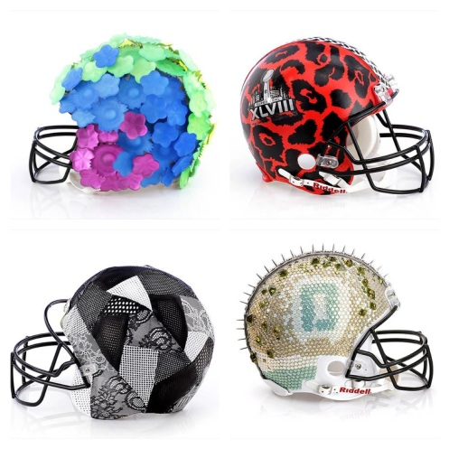 Helmets by Alexis Bittar, DVF, Rebecca Taylor, and Dannijo.