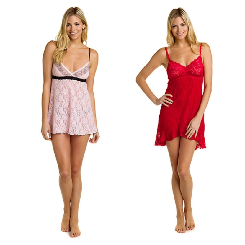 Hanky Panky Bliss Pink Lace Babydoll + G-String Set and Red Lace Chemise