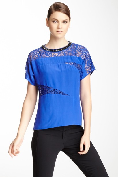 Nanette Lepore Scramble Lace Panel Silk Blouse, $99 at Hautelook