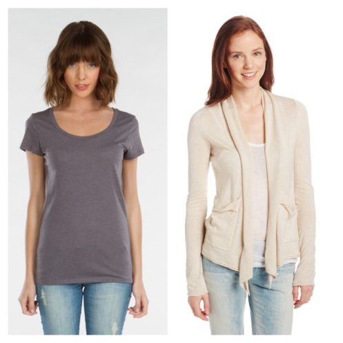 Threads for Thought Sophie Scoop Neck Tee Shirt, $12.00, and Billabong Old Time Luv Sweater, originally $49.50, on SALE for $29 at Amazon