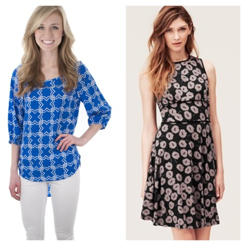 Geo Joy Top, $34.50 at Lizard Thicket, and Blossom Print Dress, originally $69.50, now on SALE for $42 at Ann Taylor Loft