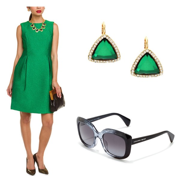 ML Monique Lhuillier Malachite Green Pleated Dress, $180, Sparkling Sage Triangle Earrings, $20, and Alexander McQueen Sunglasses, $190.