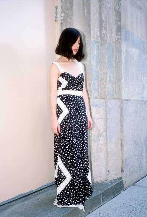 Artist Gabriella Cetrulo in Stone Cold Fox x UO Embroidered Button Front Maxi Dress, $149, photographed by Marcelo Gomes.