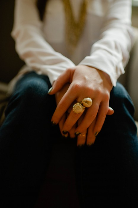 Gorjana Knuckle Ring Band and Dara Ettinger Statement Ring